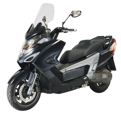 KYMCO`s Myroad 700i high-level touring scooter is the biggest scooter produced in Taiwan.
