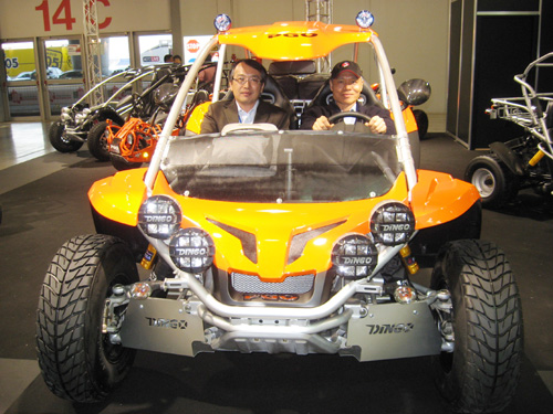 PGO CEO Eddie Wang and chief engineer Chen Chih-tsao sit on the BR 500 high-end recreational buggy.