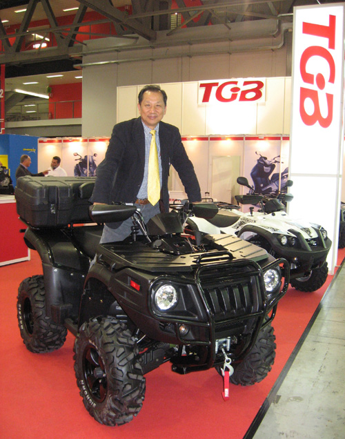 TGB president George Lin and his company`s latest 500cc utility ATV