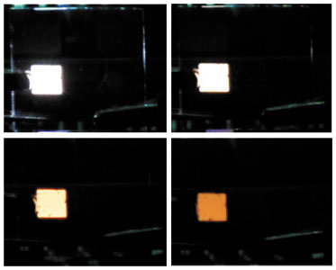 One of Jou`s chromaticity-variable OLED. The four pictures showing  different color temperatures. (photo courtesy of Jou).