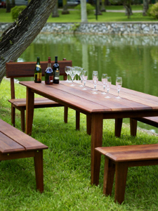 Sitra's outdoor furniture is mostly made of wood.