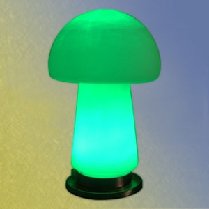 The mushroom table lamp from Lighting House is warm and cuddly.