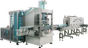 Auto wrapping & sleeving machine produced by Benison.