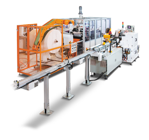 Fully automatic paper handkerchief converting line.