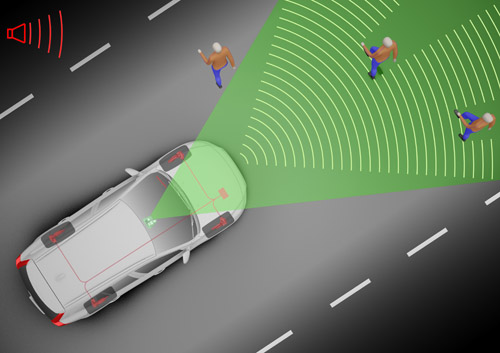 Pedestrian Detection with Full Auto Brake can detect pedestrians in front of a car, warn the driver, and automatically activate the car`s full braking power if the driver fails to respond. (photo courtesy Volvo)