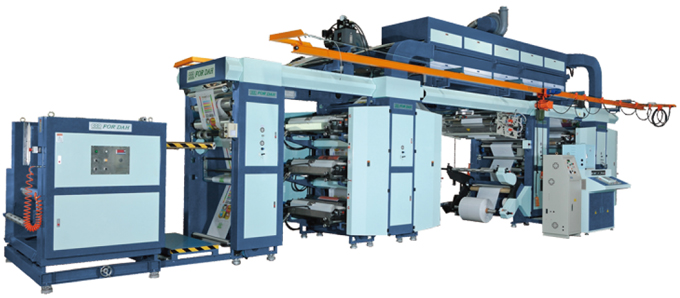 12 Color (C.M.Y.K.) Roll-to-roll Printing Machine For PP Woven / PP-coated Woven Fabric Speed: 100-150M/min