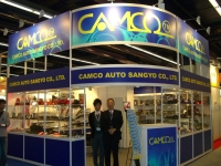 Bruce Liu (right), chairman of Camco, and his company's booths at Automechanika Frankfurt, the world's largest auto-parts trade fair.