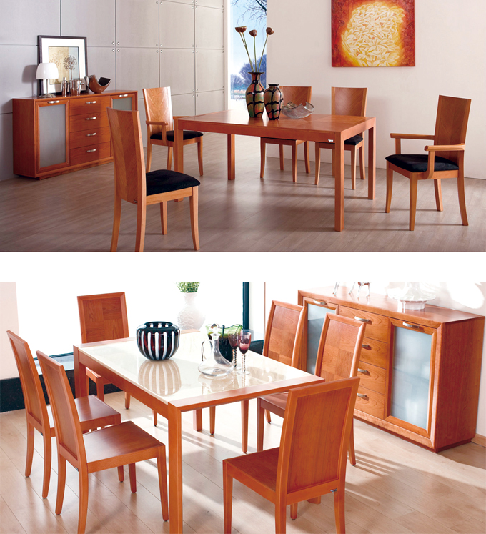 The New York Noble dining set series, made of precious red cherry wood, is from Kinwai China.