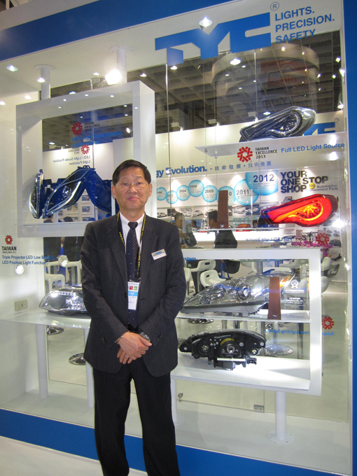 Carlos Ting, vice president of TYC, showing his high-end products supplied to international vehicle makers on OE basis.