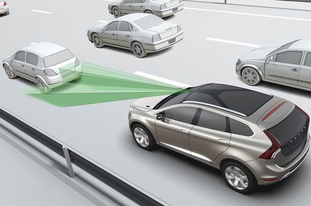 AEB is an autonomous road vehicle safety system which employs sensors to monitor the proximity of vehicles in front and detects situations where the relative speed and distance between the host and target vehicles suggest that a collision is imminent. (photo from the Internet)