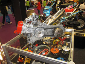 A scooter engine with NCY-developed high-end tuning parts.