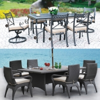 Outdoor dining sets from Shanghai Violet are made mainly of cast aluminum and woven wicker.