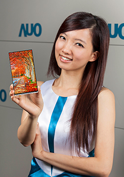 A model holds AUO's mass-produced 6-inch WQHD smartphone panel.