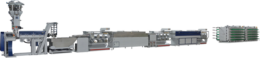 The JC/MNP series PP/HDPE monofilament extrusion line from Jenn Chong