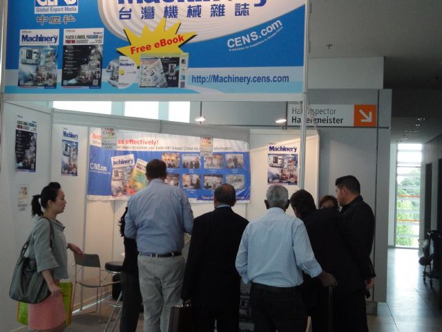 The CENS booth at Interpack 2011 was crowded by buyers interested in Taiwan's high-profile machinery.