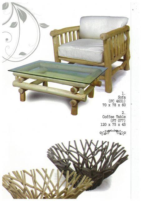 Djawa's simple-looking sofa, coffee table, and log bowls are made of plain wood.