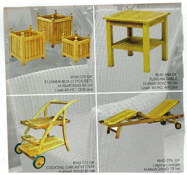 Home Design uses plain wood to make a variety of products including flower boxes, casual tables, and cocktail cars with trays.