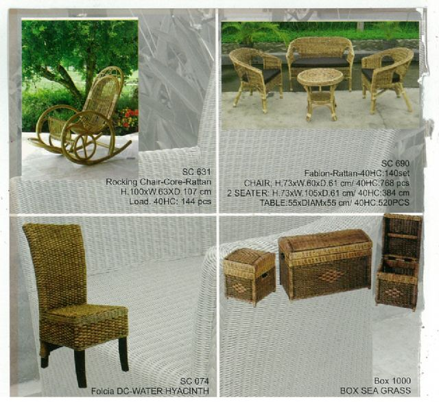 Home Design makes a variety of furniture items of rattan and wicker.