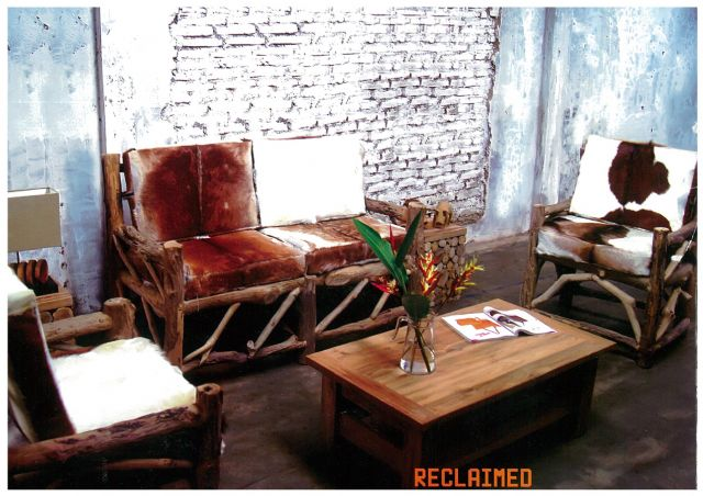 This rugged-looking living-room furniture was made by Wisanka using reclaimed teak wood.