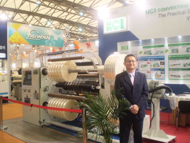 Terence Chen, HCI's deputy marketing manager, introduces the FSL-TX series 800 Rewind Slitter Rewinder.