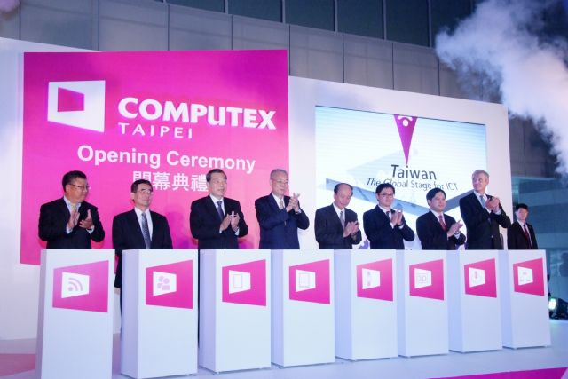 Computex Taipei 2014 was opened by celebrities including Taiwan's Vice President Wu Den-yih (fourth from left).