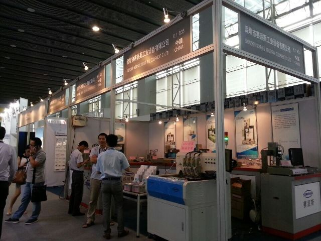 LED packaging machines displayed by a Chinese exhibitor