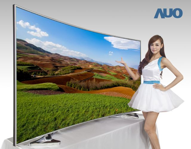AUO's 85-inch next generation UHD 4K wide color gamut curved LCD TV display has a world-leading 4000R golden curvature.