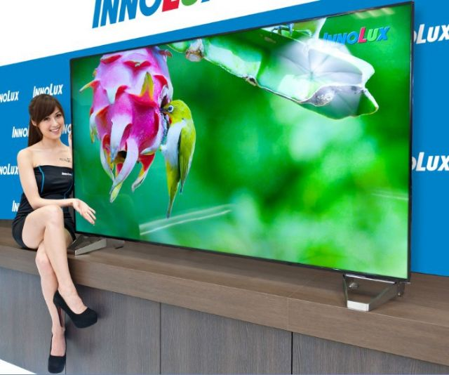 Innolux exhibited an 85-inch 3D 4K2K ultra-high-resolution, high-color-saturation TV Panel