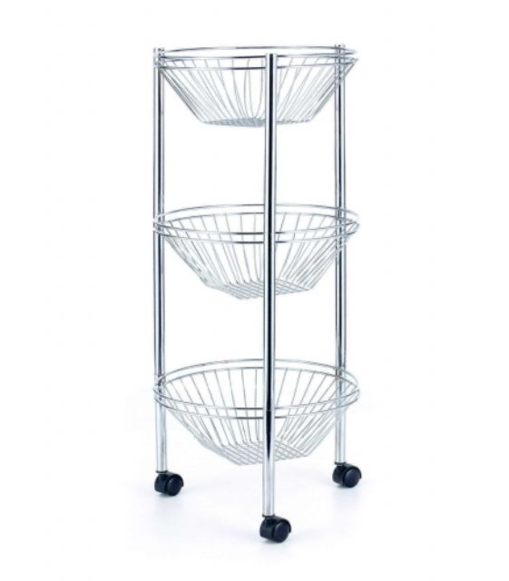 Xin He Fong's K/D three-basket wire rack highlights innovative fastener-free assembly and is suitable for use in bathroom.