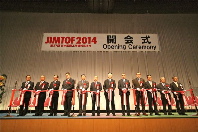 The ribbon-cutting ceremony was held at the end of the JIMTOF 2014 opening.