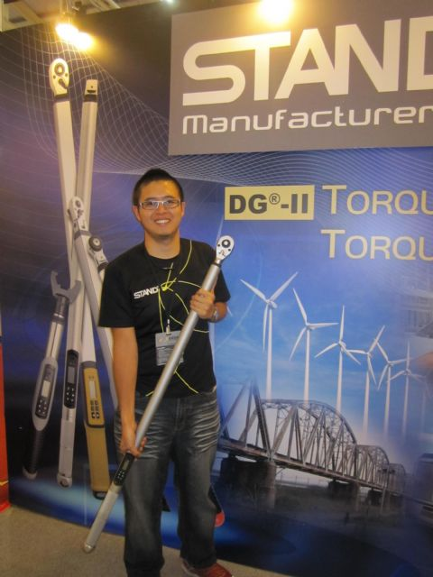 Brand Hsiao, marketing director of Stand Tools, a major digital torque-wrench supplier in Taiwan