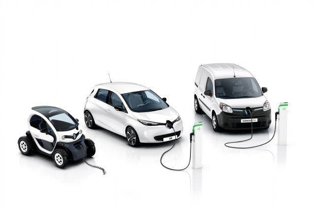 Renault's EV range: (from left) Twizy, ZOE and Kangoo Z.E. (photo from Renault-Nissan).