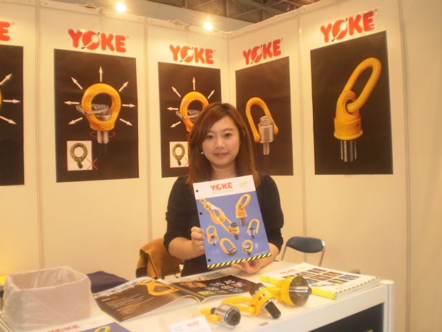 YOKE sales representative Aki Chien was happy to see the bigger turnout at JIMTOF this year.