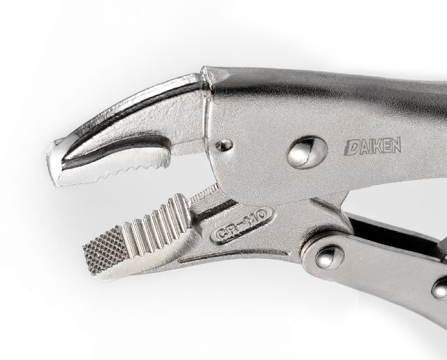 The universal plier from Daiken has cross-grooved jaws for stronger, firmer clamping