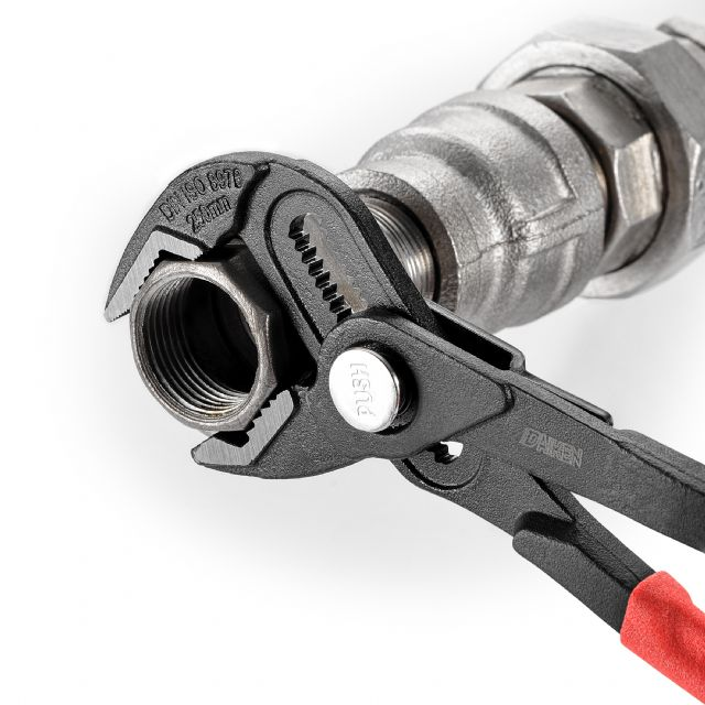 Daiken's newest water pump plier with a quick-adjust button has a larger gripping capacity of up to 50mm.
