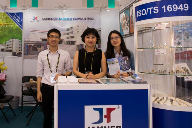 Fastener Jamher's sales manager, Linda Lin (center), approves of TIFS 2014's improved organization and floor layout.