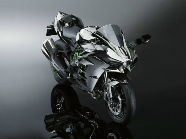 The Kawasaki Ninja H2 is powered with a supercharged engine first-seen on a production motorcycle model. (Photo from Kawasaki)