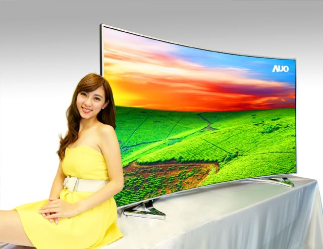 AUO's 85-inch UHD 4K quantum-dot curved LCD TV display significantly enhances color saturation. (photo from AUO)