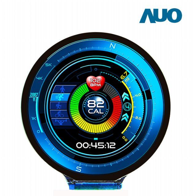 AUO's 1.4-inch full-circle AMOLED displays for smart watches. (photo from AUO)