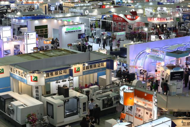 Devalued yen and won are hurting Taiwan's machine-tool export competitiveness. (a machine tool trade fair in Taipei shown)