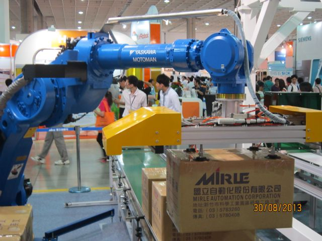 Mirle regards mainland China as springboard to international automation market. (Pictured is an automated conveying system  by Mirle at a trade show)