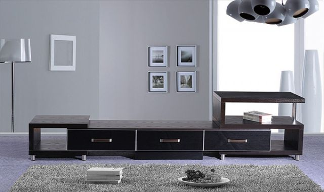 Hanaco's TV stand features clean-lines, Euro aesthetics and smartly arranged compartments.