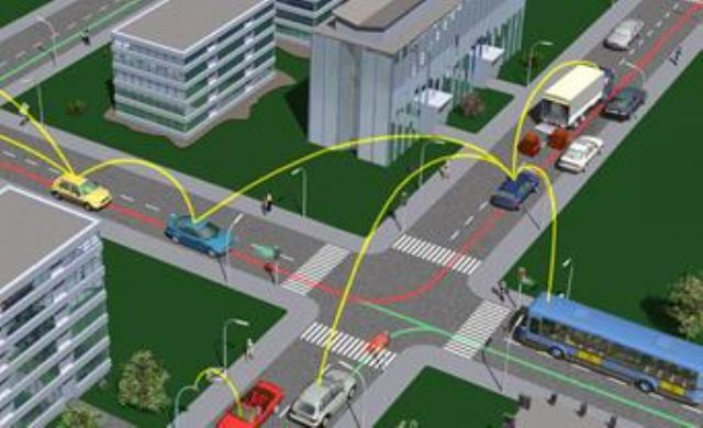 The concept of vehicle-to-external communication (V2X). (photo from Internet)