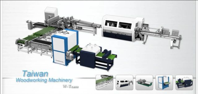 W-TEAM demonstrates Taiwan's first fully automatic production line of solid wood flooring. (Picture courtesy of MOEA.)