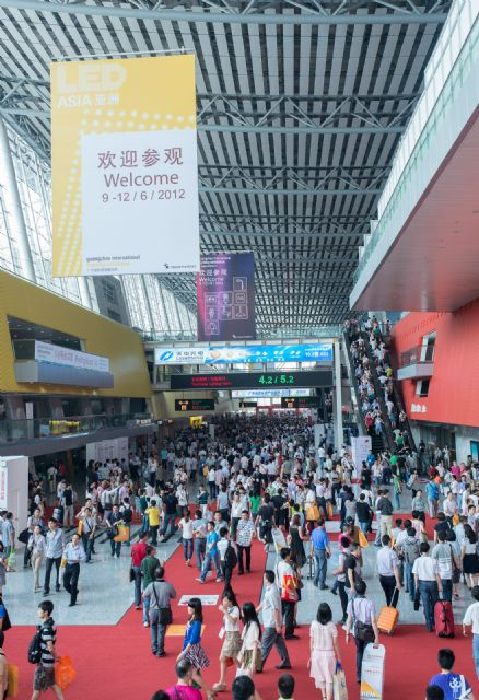 Five trends are predicted in mainland China's LED industry in 2015. (Pictured is an LED trade show in Guangzhou.)