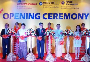 TAITRA's chairman Francis Liang (center), Yangon Divisional Minister for Electrical Power and Industry Nyan Tun Oo (second from right), UMFCCI president Win Aung (second from left) and TAITRA chief executive officer Peter Huang (first from left). attended the ribbon-cutting ceremony for the three concurrent trade fairs. (photo courtesy of TAITRA)