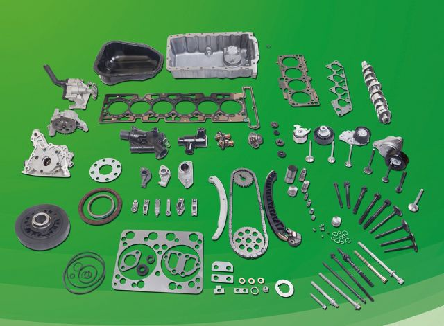 Samples of FBG's crank pulleys, cylinder head bolts, timing kits, engine valves, etc.