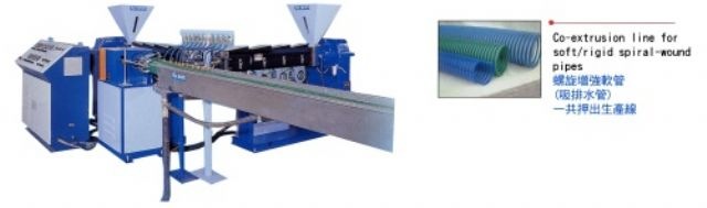 The Co-extrusion line for soft-rigid spiral-wound pipes from Tai Shin