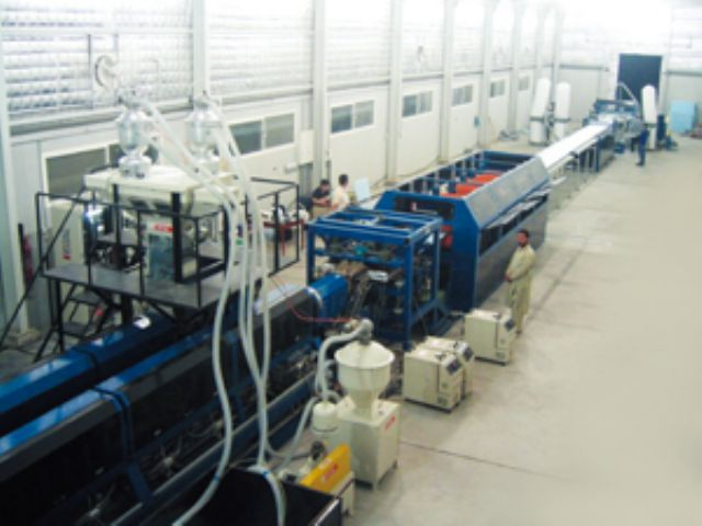 A plastic foam extrusion line produced by Pitac