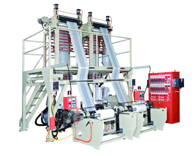 Kang Chyau's twin head (A/B/A Layer) HDPE/LDPE/LLDPE plastic inflation machine, coded KMTL-4545T, features great efficiency, diverse functionality and high productivity.